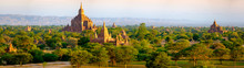 Panoramic Landscape View Of Beautiful Old Temples In Bagan, Myan