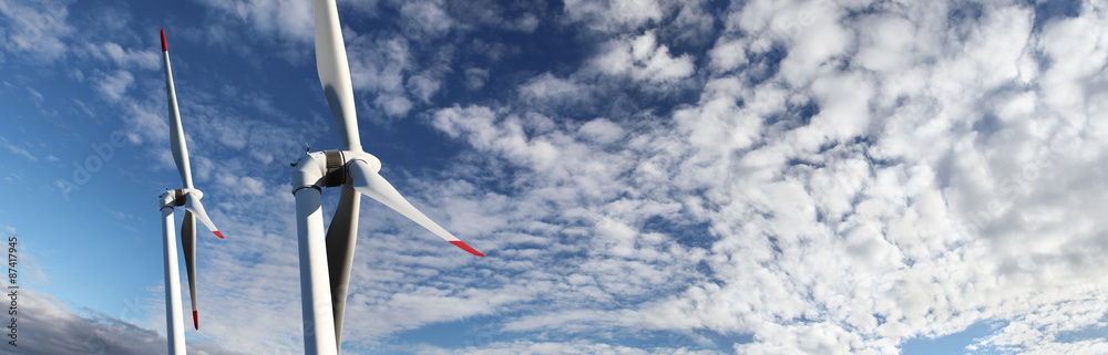 Fototapety, obrazy: energy wind turbines on blue sky with clouds