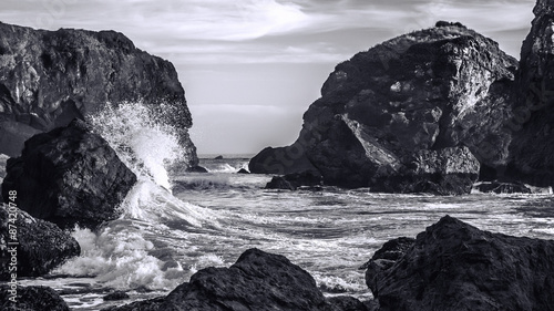 Waves Crashing on a Rocky Coast, Black and White