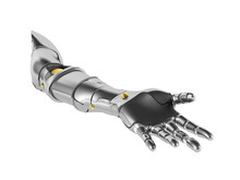 Metal Robotic Arm Isolated On White Background