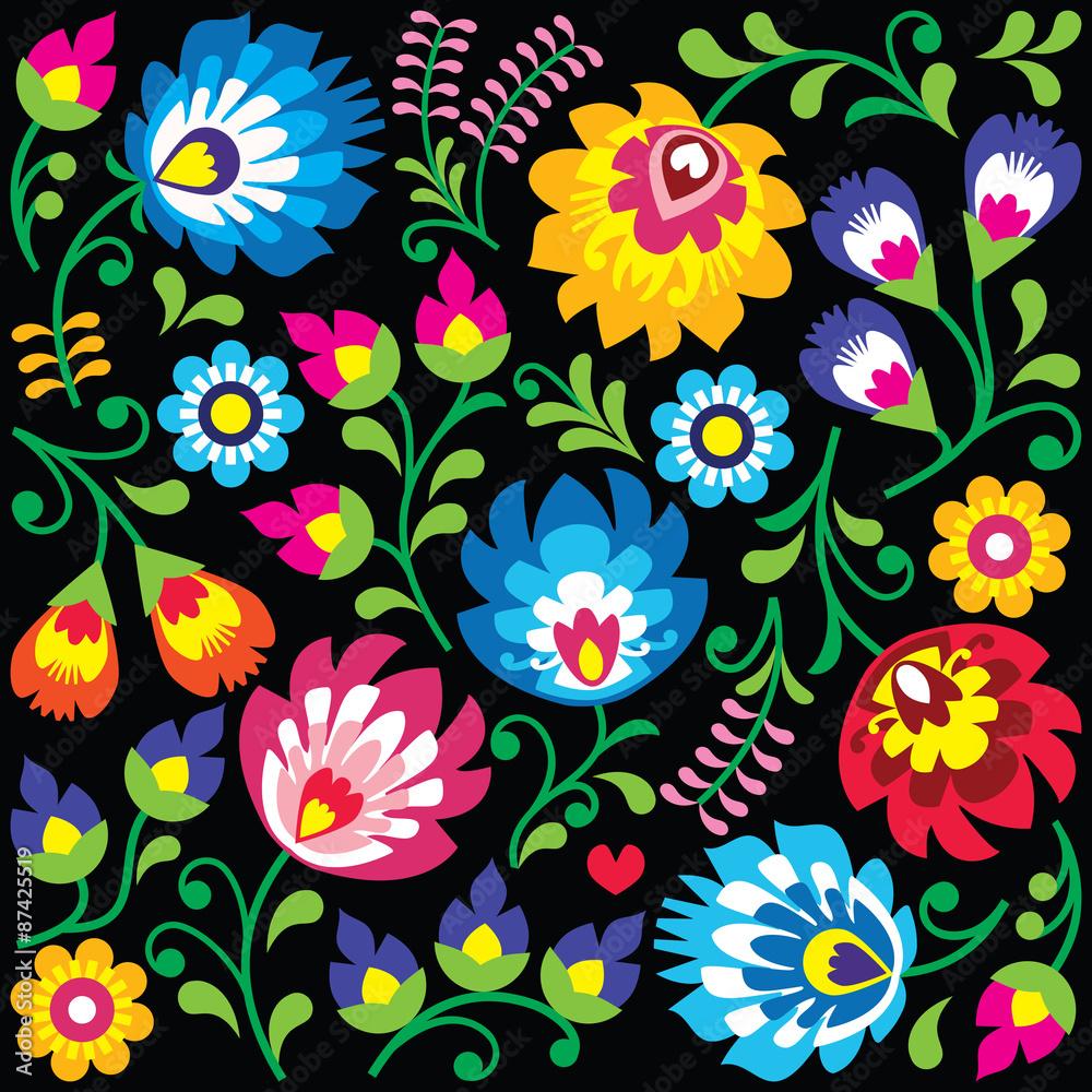 Floral Polish folk art pattern on black - Wzory Lowickie, Wycinanki