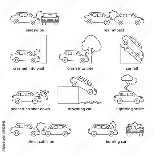 Photo  Car crash or insurance line icons