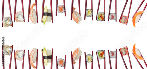 Printed kitchen splashbacks Sushi bar Many different sushi and rolls in chopsticks isolated on white background