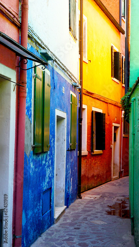 Burano colorful house building