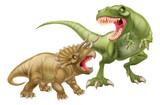 Fototapeta Dinusie - T Rex Versus Triceratops