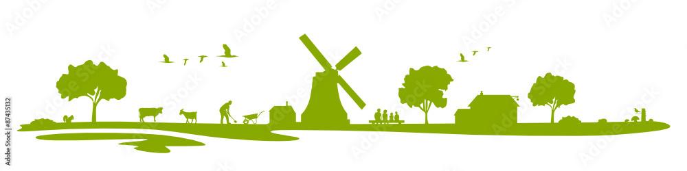 Fototapety, obrazy: Landschaft Bauernhof