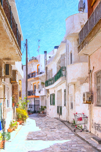 Lerapetra Street Scene Digital Painting