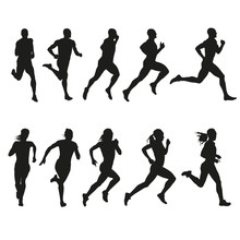 Set Of Silhouettes Of Running ...