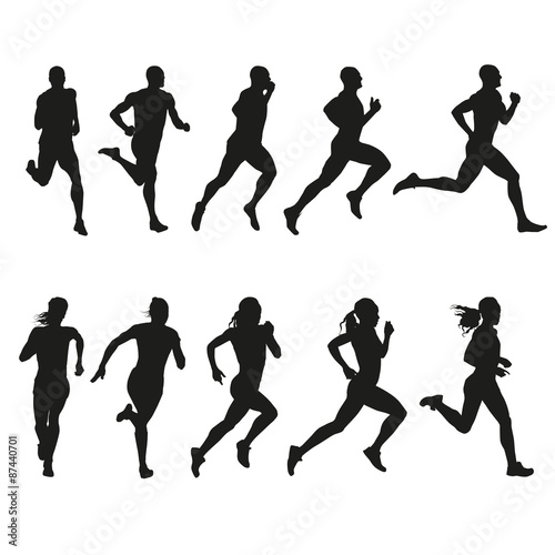 Fotografie, Obraz  Set of silhouettes of running men and women