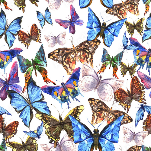 La pose en embrasure Papillons dans Grunge Beautiful colorful summer watercolor butterflies seamless