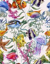 Watercolor Sea Life Seamless Background, Underwater Watercolor