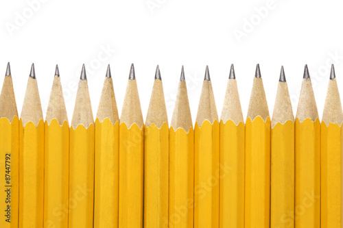 Yellow pencils on a white background Canvas Print