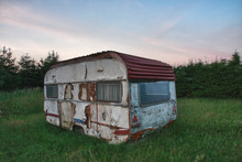 Old White Camper In Forest In ...