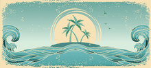 Blue Seascape Horizon. Vector Grunge Image With Tropical Palms O