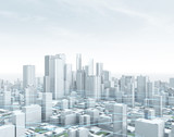 Smart City – Panorama: Wolkenkratzer Skyline