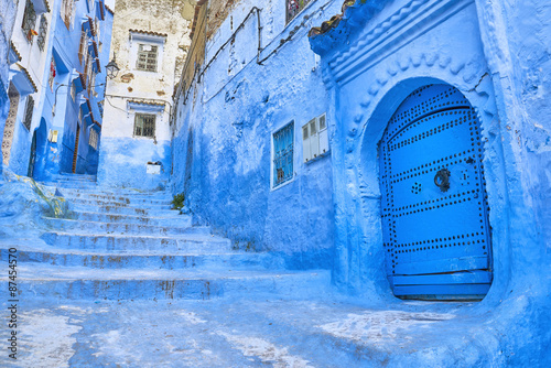 In de dag Marokko Chefchaouen, Morocco. Chefchaouen or Chaouen - houses in this city are painted in blue.