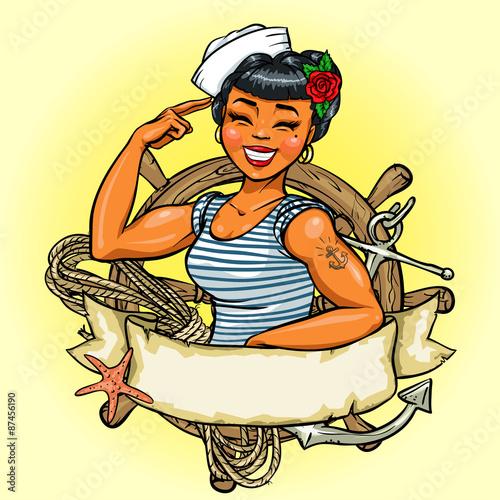 projekt-retro-logo-dziewczyna-wektor-pin-up-ilustracja