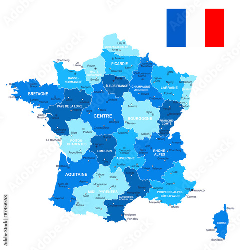 Map Of France With City Names.Map Of France And Flag Highly Detailed Vector Illustration Image