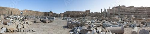 Panoramica del foro dei severi di Leptis Magna in Libia