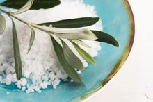 Fresh Olive Branch With Sea Salt