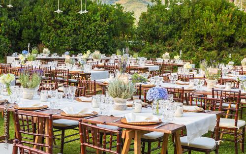 Poster de jardin Europe Méditérranéenne Laid tables for the gala dinner of the wedding