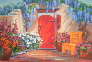 Original oil painting The door into the Haven