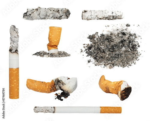Fotografia, Obraz  Set Cigarette butts and ashes from tobacco isolated on white background