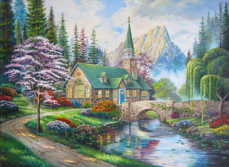 Obraz na Plexi Mosty Original oil painting The Church in the forest
