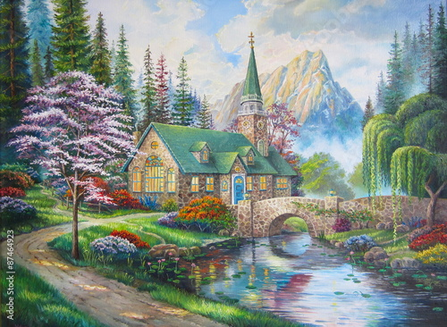 Original oil painting The Church in the forest - 87464923