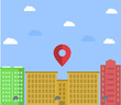 building with GPS pointer. Vector illustration