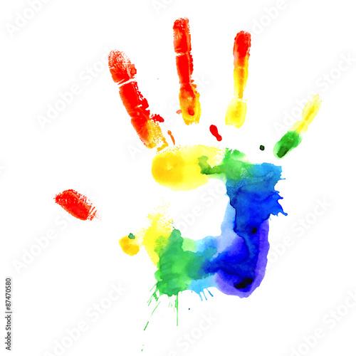 Handprint in vibrant colors of the rainbow Tapéta, Fotótapéta