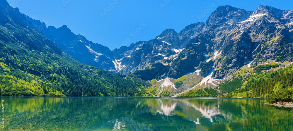Fototapety, obrazy: Panoramic view of green water Morskie Oko lake, Tatra Mountains, Poland