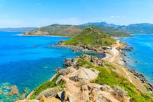 View Of Corsica Coast From Tower On Cape De La Parata, Corsica Island, France
