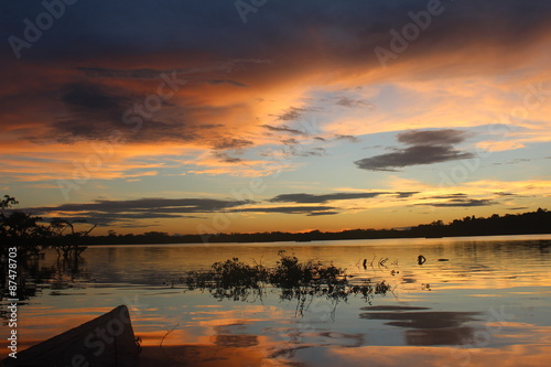 Amazon River at Sunset with Canoe