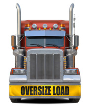 Oversize Load Red Truck Isolat...