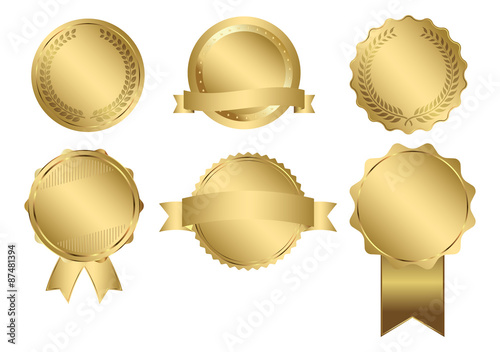 Fotografia  Vector Badges of Gold Seal Set