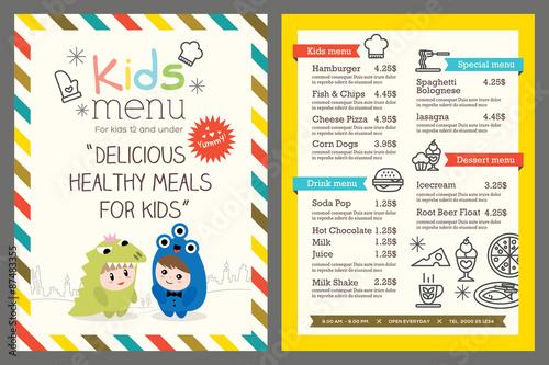 Photo  kids menu vector template