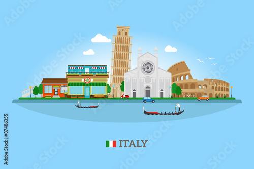 Vector Italy skyline Canvas Print