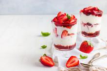Dessert With Fresh Strawberry,  Cream Cheese And Strawberry  Jam