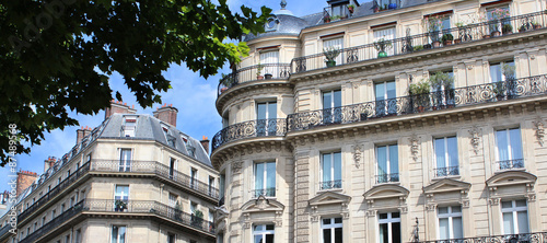 Foto op Aluminium Parijs Paris / Façades d'immeubles haussmanniens
