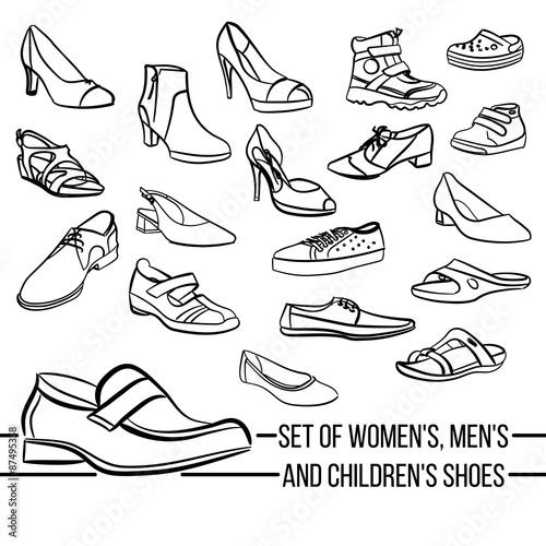 Obraz Set vector women, men and children's shoes painted lines - fototapety do salonu
