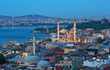 Beautiful view of Istanbul with illumination in summer twilight