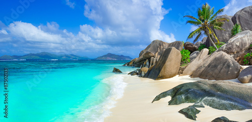 Poster Tropical plage Anse Source d'Argent - Beach on island La Digue in Seychelles
