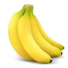 Banana Fruit Close Up. Bunch Of Bananas Isolated On White