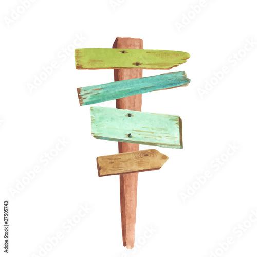 Fotografía  Watercolor wooden signpost