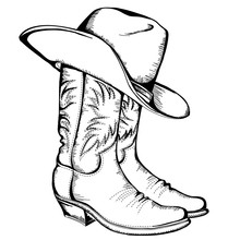 Cowboy Boots And Hat.Vector Graphic Illustration Isolated