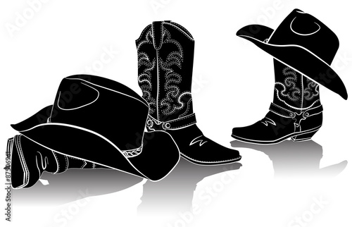 Valokuva  cowboy boots and western hats.Black graphic image on white backg