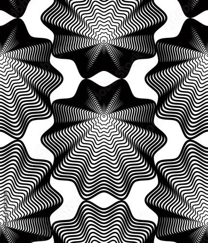 Okleiny na drzwi - Złudzenie optyczne  black-and-white-vector-ornamental-pattern-seamless-art-backgrou