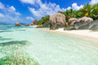 Beautiful granite rocks at beach on island La Digue in Seychelles - Anse Source d'Argent