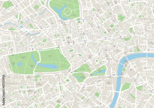 Fototapeta Bardzo szczegółowa mapa wektorowa Londynu. Obejmuje ona ulice, parki, nazwy okręgów, punkty zainteresowania.